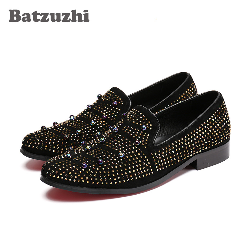 Batzuzhi Handmade Fashion Men Shoes Black Suede with Rhinestones Men Loafers Shoes Leather Casual Shoes Man Wedding Party 2017 new spring imported leather men s shoes white eather shoes breathable sneaker fashion men casual shoes