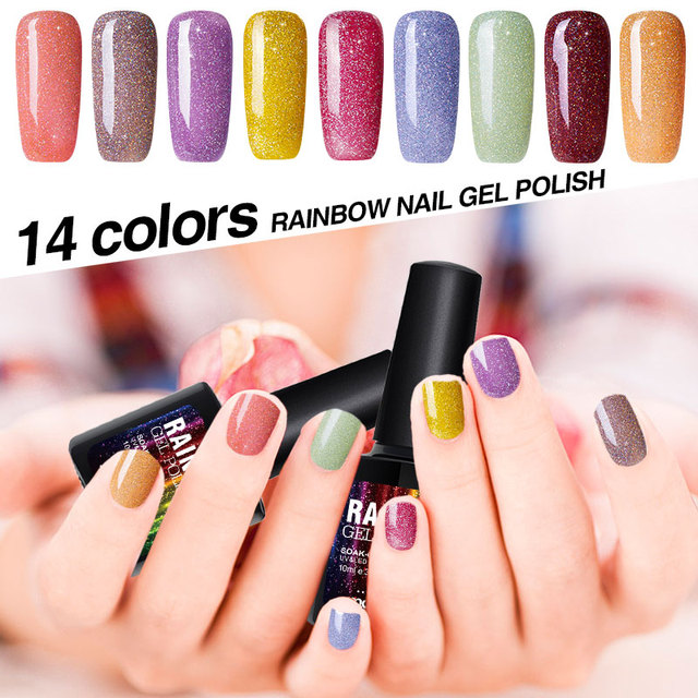 Modelones Beautiful Neon Rainbow Nails 10ML UV Nail Gel Polish ...