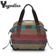 New Hot women bags Panelled Canvas Bags Casual Patchwork Handbag Shoulder Bags Big Shopping Stripe rainbow bag