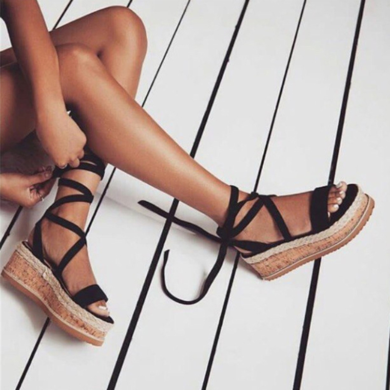 384c97519954 HZXINLIVE 2018 New Summer Women Platform Sandals Vacation Espadrilles Wedge  Sandals Women Lace up Gladiator Sandals Summer Shoes-in High Heels from  Shoes on ...