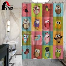 Cute Cartoon Owl Shower Curtain Pattern Customized Bath Waterproof Polyester Fabric Bathroom
