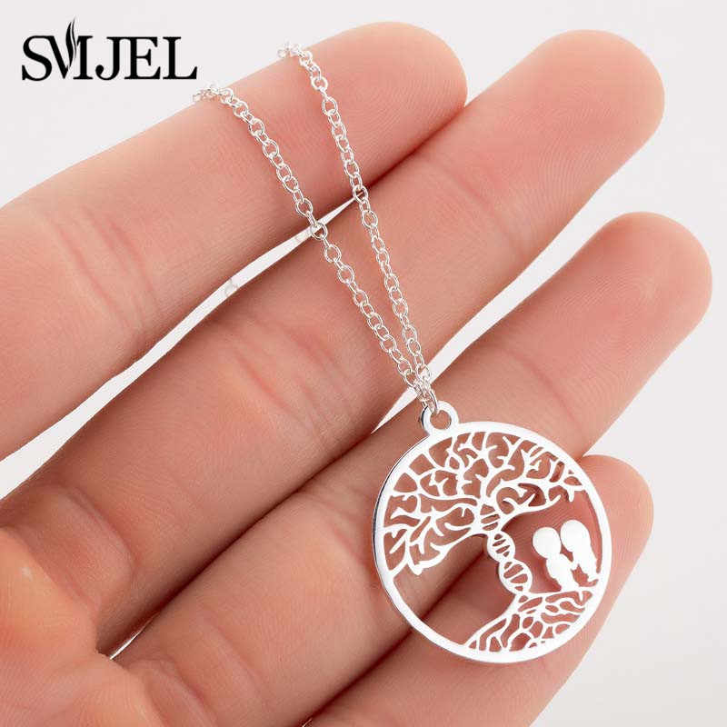 SMJEL Hollow Tree Of Life Round Pendant Necklace for Women Molecule DNA Charm Women Men Couple Necklaces Love Jewelry Gifts