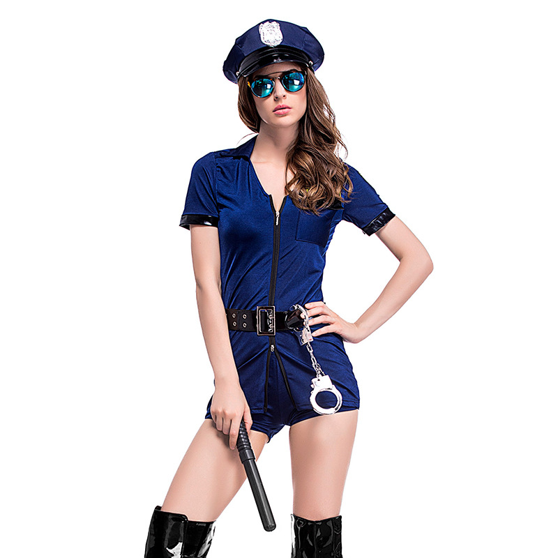 Woman's <font><b>Sexy</b></font> Blue Zipper <font><b>Cop</b></font> Police Uniform Halloween Costumes for Female Game Stage Costume Cosplay Clothes image