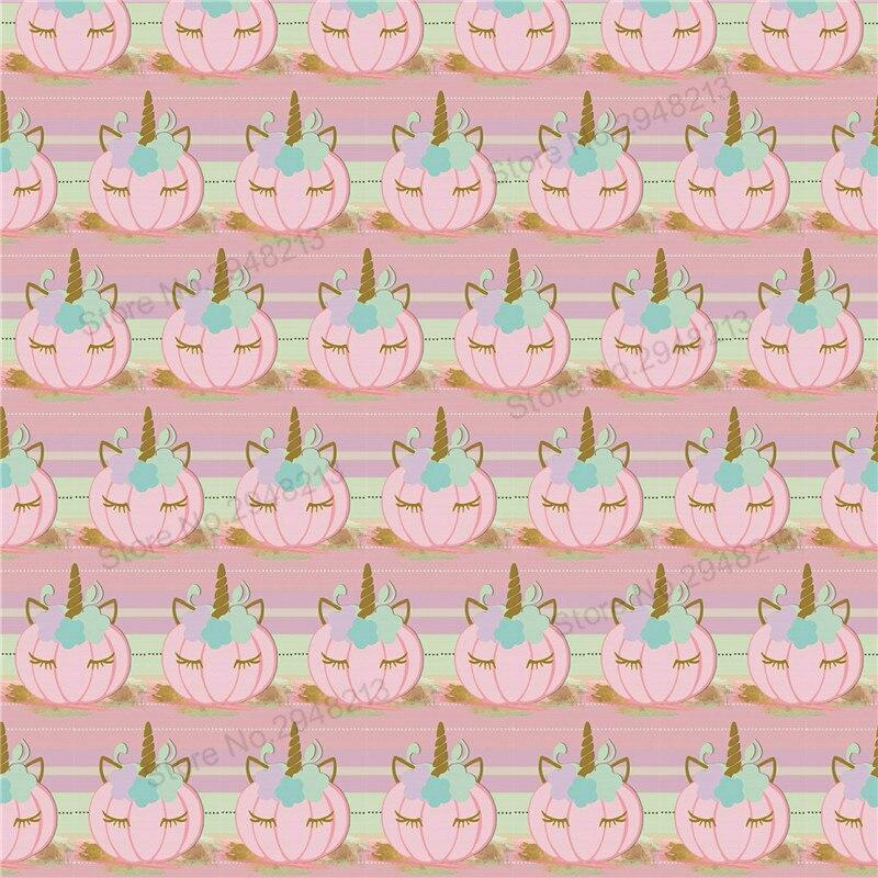 10 шт./лот мультфильм печатных Тыква Единорог Синтетическая кожа ткань Vinly для волос лук сумки 20*34 см PPUL09