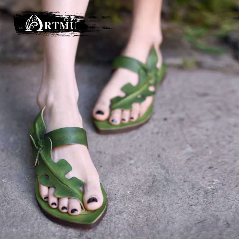 Artmu Original Vintage Personality Flat Genuine Leather Sandals Comfortable Soft Sole Flip Flops New Women Slippers ZH349-1
