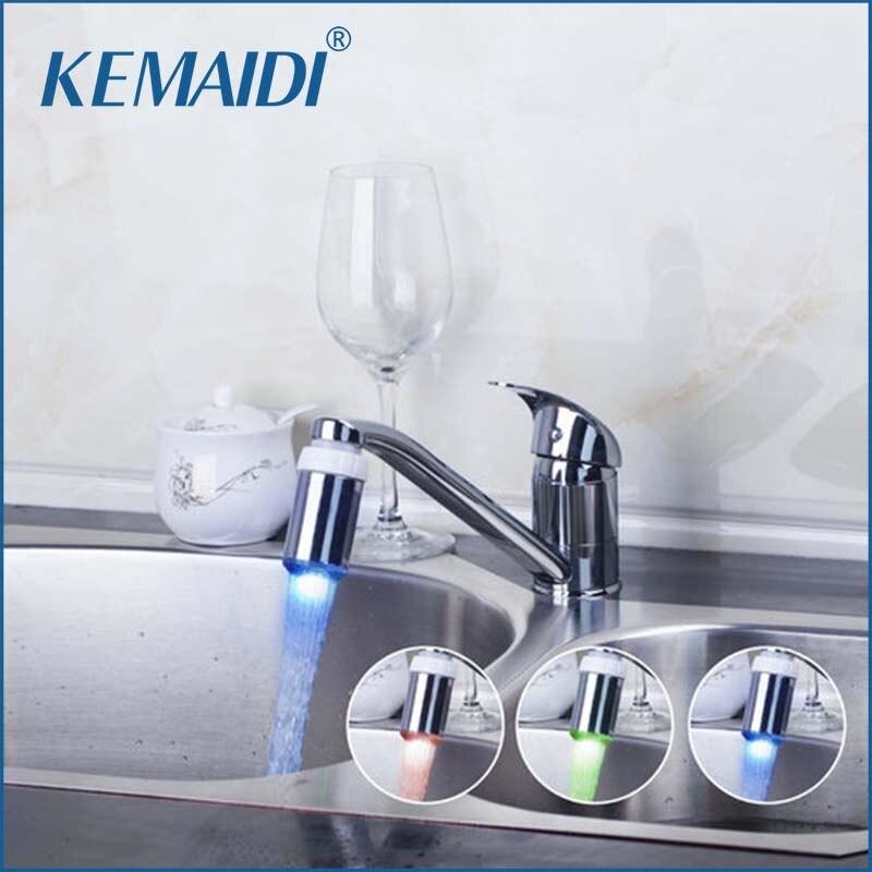 KEMAIDI robinet de cuisine mitigeur de lumière LED de cuisine pivotant Chrome lavabo évier robinets robinet d'eau robinet de lavabo