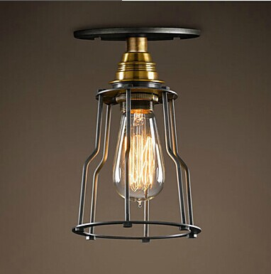 American Retro Loft Style Iron Painting Vintage Edison Bulb Ceiling Lights With 1 Light,For bedroom aisle,E27 Bulb Included loft vintage edison glass light ceiling lamp cafe dining bar club aisle t300