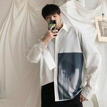 2019 Summer Personality Designer Korea Style Teenage Graphic Loose Casual Mens Shirt