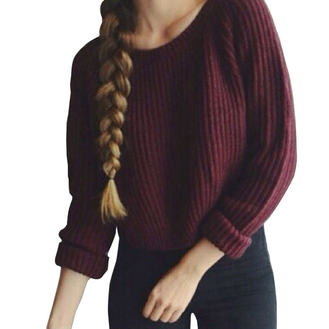 2017 Fashion Autumn Winter Women's Sweaters High Street Burgundy ...