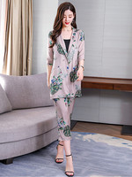 2019 Summer New Slim Knit Cardigan Suit Women Fashion Elegant Print Jacket harem Pants Two piece Women's Sets