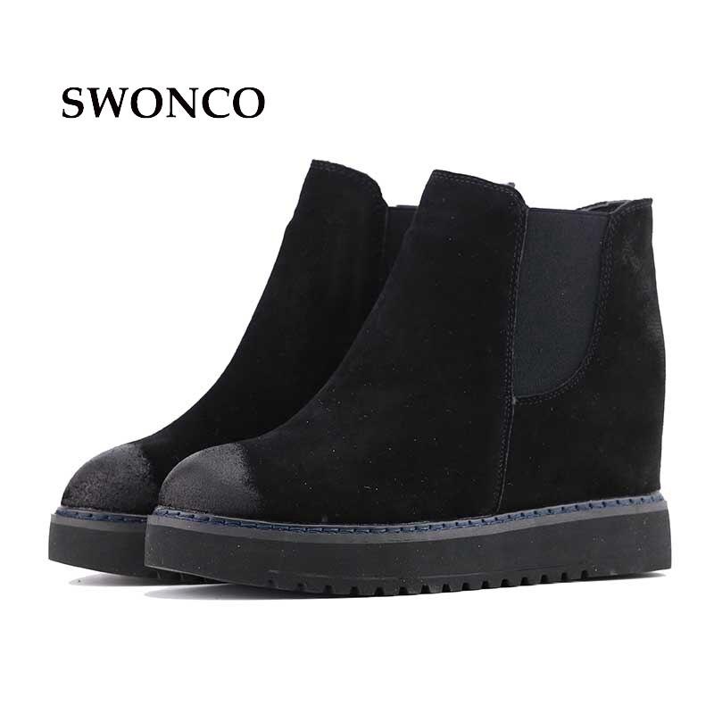 Swonco Caoutchouc Femme grey 4 Femmes Chaussures brown Croissante Rond 5 Black Cm Véritable Bout Bottes Cuir Cheville De Hauteur Hiver En Semelle 3R54AjLq