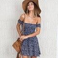 Короткие сексуальные Женщины Без Бретелек Богемный Пляж Dress Женщины С Плеча Цветочные Хиппи Boho Лето Dress 2017 Мини-Платья Vestidos