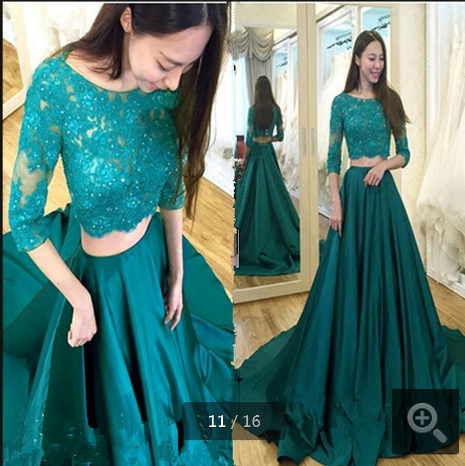 2017 New Design Dark Green Two Piece Beaded Lace Prom Dress 3/4 Sleeve Modest Court Train Elegant Prom Gowns Hot Sale