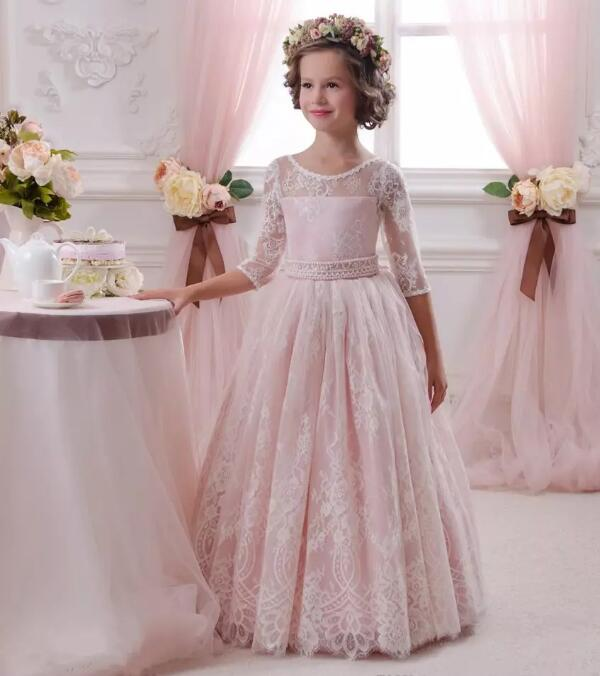 Pink Lace Three Quarter Sleeve Ball Gown Flower Girl Dress for Wedding Girls Pageant Gown Custom Made Size and Color цена