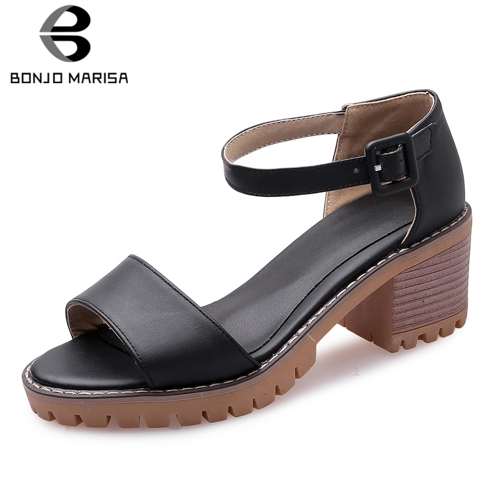 BONJOMARISA Fashion Summer Sandals Women Shoes Woman Chunky Heels Platform Buckle Strap Casual