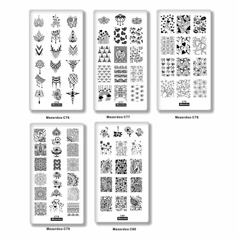 5 Pcs เล็บชุดเล็บปั๊มแผ่นคอลเลกชันเล็บแสตมป์แผ่น 12x6 สแตนเลสแม่แบบโลหะ lover การออกแบบลูกไม้