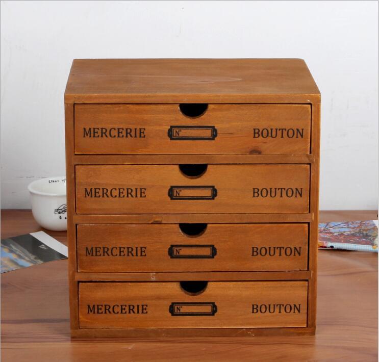 Accueil boîte de rangement cosmétique tiroir de rangement en bois 4 tiroirs organisateur de rangement bureau maquillage mallette de rangement trousse de papeterie