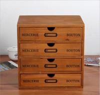 Home Cosmetic Storage box Wooden Storage Drawer 4Drawer storage organizer Office Make up Storage case Stationery Case