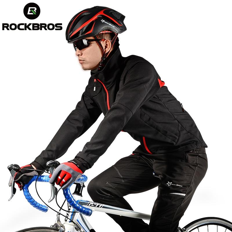 ROCKBROS Man Cycling Jersey Winter Fleece Thermal Warm Bicycle Jersey Windproof Anti-sweat ciclismo Rainproof Riding Bike Jacket