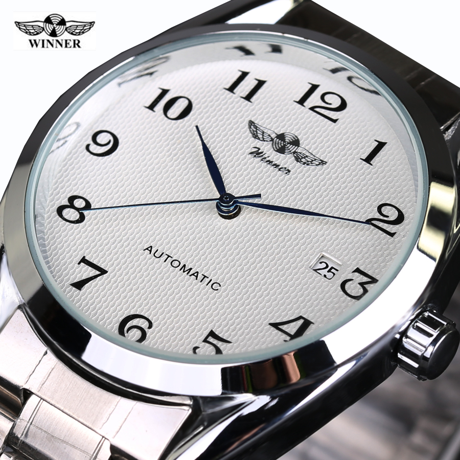 Top Luxry Brand Winner Men Automatic Mechanical  Wrist Watches Stainless Steel Business man Watch Male Atmos Clock free shipping winner fashion men s automatic mechanical watches classic concise precision male wrist watches leather watch bands gift for men