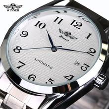 Top Luxry Winner Marca Mecánico Automático de Los Hombres Relojes de Pulsera de Acero Inoxidable Reloj de hombre de Negocios Masculino Atmos Reloj envío gratis