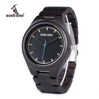 BOBO BIRD O03 Natural Ebony Wooden Watches For Men High Quality Brand Designer Wood Quartz Watch