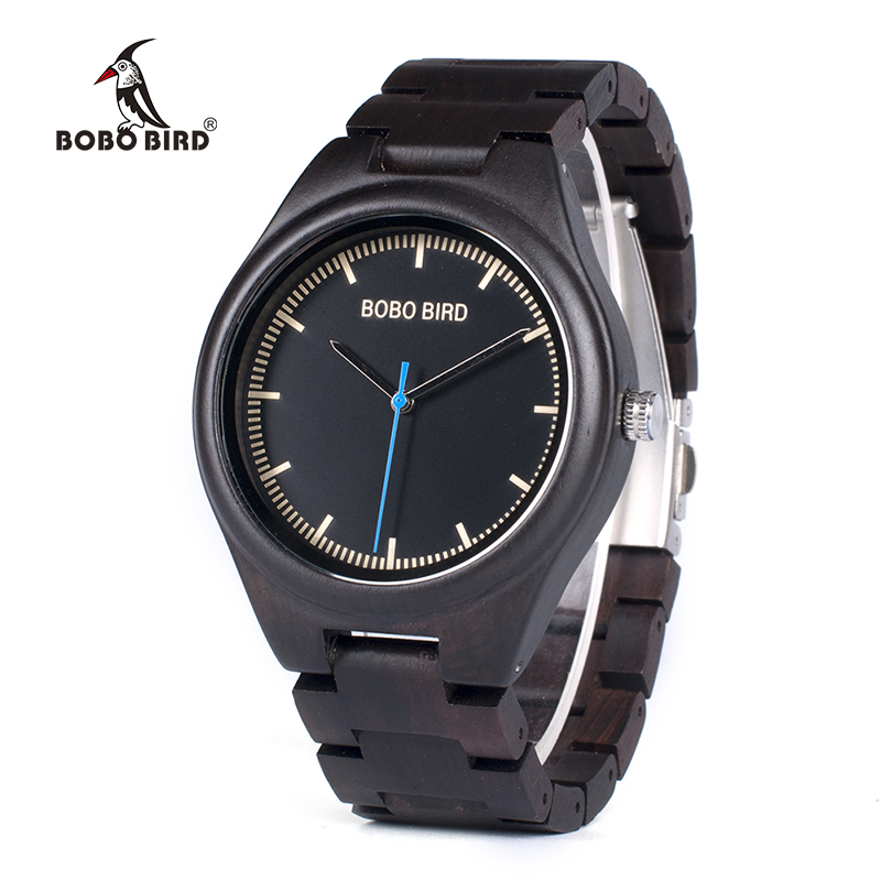 BOBO BIRD WO03 Natural Ebony Wooden Watches for Men High Quality Brand Designer Wood Quartz Watch with Tool for Adjusting Size bobo bird wh05 brand design classic ebony wooden mens watch full wood strap quartz watches lightweight gift for men in wood box