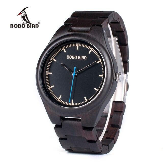 BOBO BIRD relogio masculino Wooden Watch Men Timepieces Quartz Watch in Wood Gift Box OEM Drop Shipping W O03