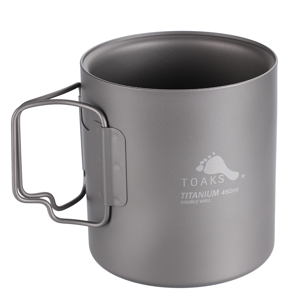 TOAKS Outdoor Camping Double Wall Titanium Cup 450ml Folded Handle Titanium Coffee Mug