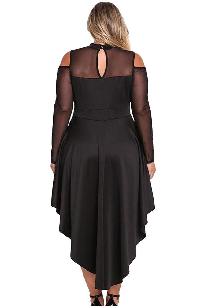 Black-Plus-Size-Mesh-Trim-Hi-Lo-Peplum-Bodycon-Dress-LC61727-2-2