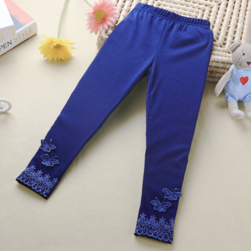 Stretchy Kid Baby Butterfly Lace Pants Girl Warm Trousers Toddler Tight Solid Color Trousers