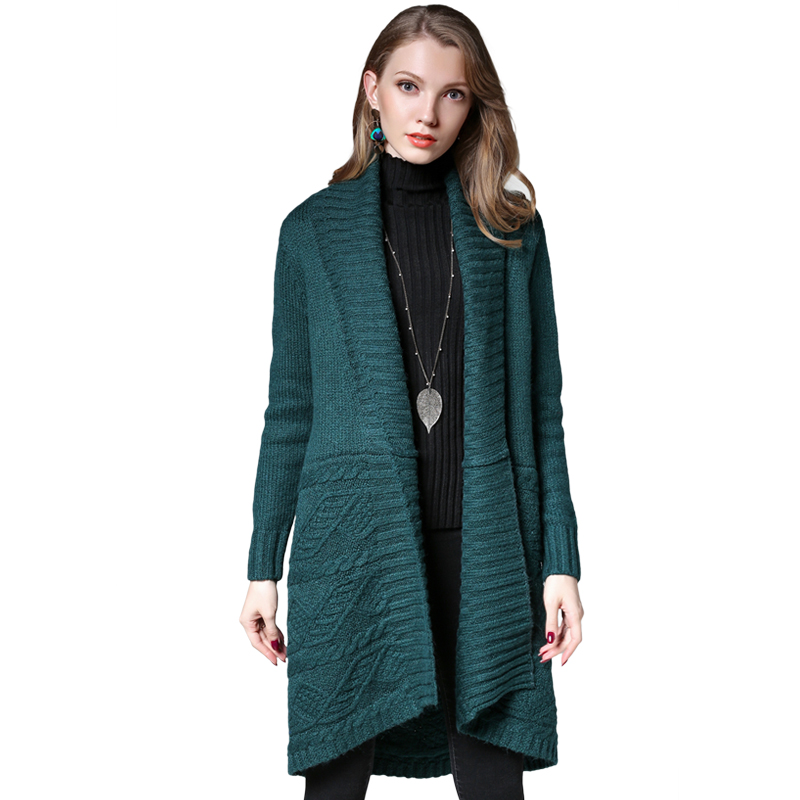 2017 font b Women b font Long Cardigans Autumn Winter Open Stitch wool Knitting Sweater coats