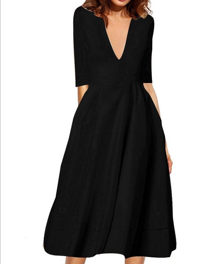 4cce9c11f80a80 2019 hot selling vrouwen mode blauwe jurk dame casual v hals wit zwart  elegante jurk school meisjes grote size 3XL XL rood   w30 in 2019 hot  selling vrouwen ...