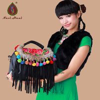 HOT Naxi.Hani brand black PU leather Embroidered saddle bags winter Artificial fur handmade Pompon Messenger bags