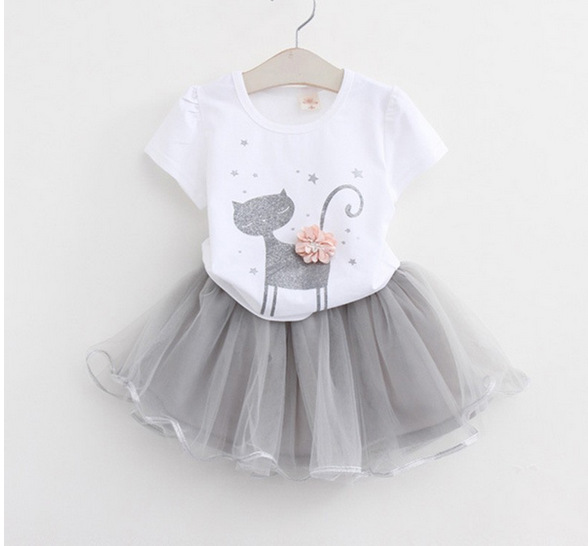 2018 New Summer Cats Short-sleeved princess set childrens Suits clothing Cotton T-shirt+Yarn Skirts Two-piece kids Casual Sets