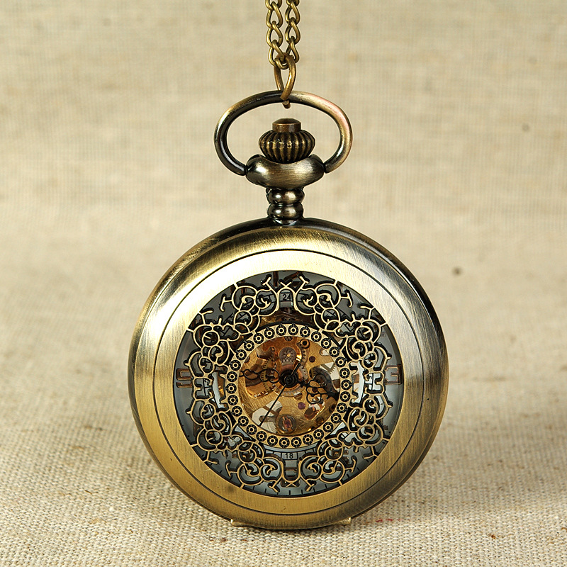 8937  Retro Hollow Mechanical Pocket Watch Simple Retro Style Watches Open For Men And Women With A Waist Chain