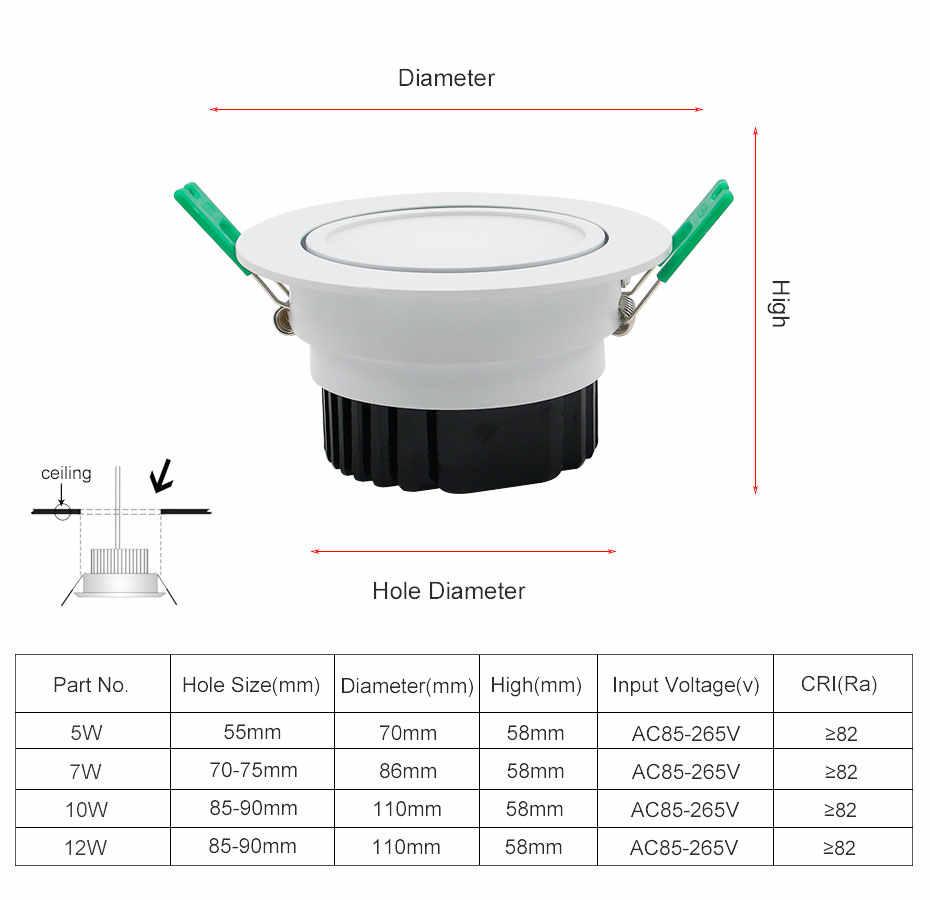 [DBF] новая модель матовая линза светодиодный встраиваемый светильник высокие яркие светодиоды COB Epistar потолочный Точечный светильник 5 Вт 7 Вт 10 Вт 12 Вт с трансформатором