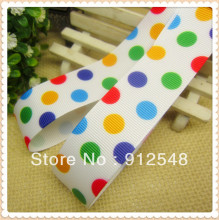 1» (25mm) free shipping 2013 new arrival color dot printed grosgrain ribbon Gift wrap ribbon 10 yards 102319