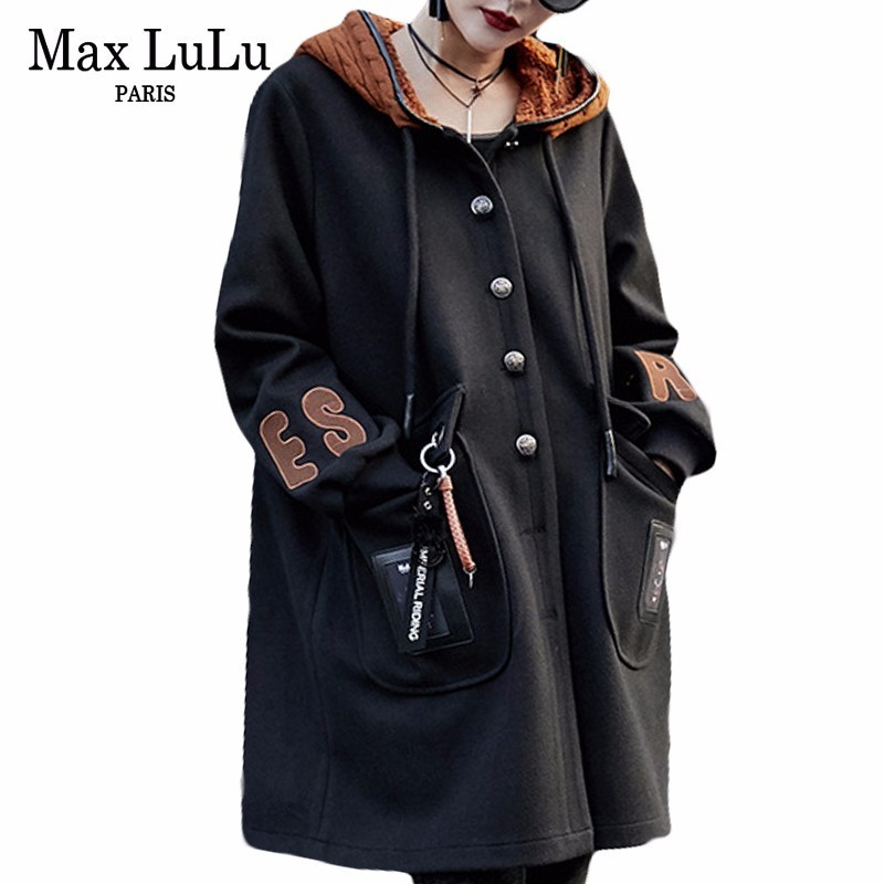Max LuLu Luxury Korean Brand Ladies Knitted Hooded Overcoat Womens Long Winter Coats Black Casaco Feminino