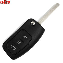HKOBDII New 433MHZ Replacement Keyless Entry Folding Flip Remote Car Key 3 Buttons For Ford Focus Fiesta With Uncut HU101 Blade