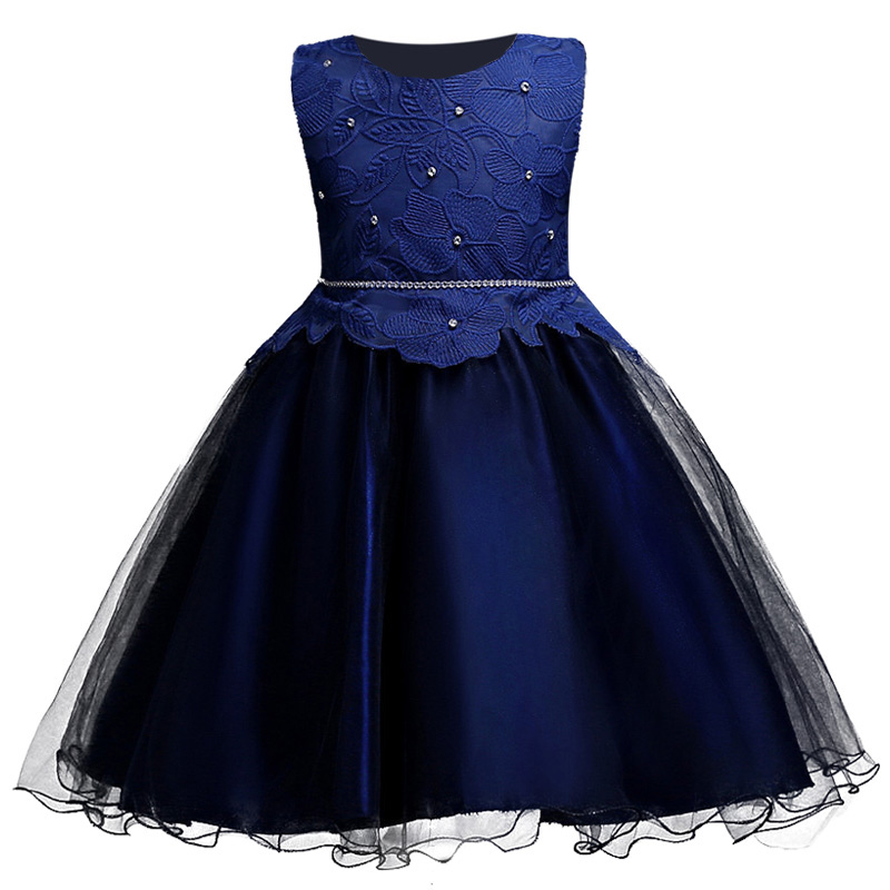 High-grade Embroidery Flower Girl Dress Blue Color Kids Wedding Party Dress Summer Sleeveless Princess Prom Dresses for Girls high grade princess wedding dress europe and america flower girl dress for girls white for 0 12 yesrs