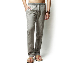 Men Pants casual pants Linen jogger Drawstring Flax Pants Straight Full Length Linen Cotton Home Trousers Fashion wide Pants mid rise floral print linen drawstring jogger pants