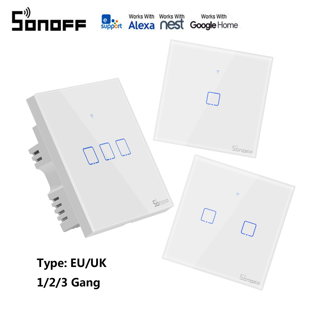 SONOFF T1 smart switch panel EU/UK standard 1/2/3 Gang Work with Alexa  Google home 433mhz RF control by eWeLink for Dropshipping