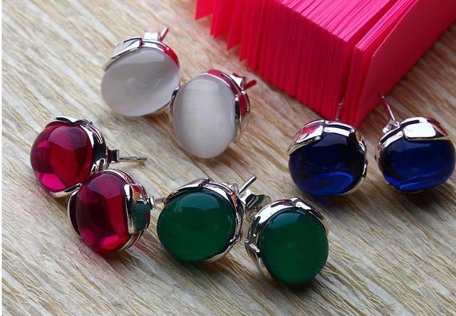 925 pure natural agate Garnet Earrings Earrings Silver Earrings Korean Korean jewelry silver jewelry factory
