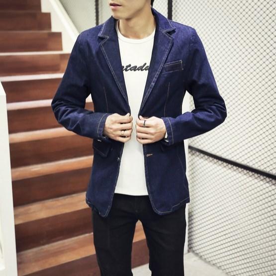 Korean Fashion Formal Blazers Suits Men Blue Jeans Jackets Mens Large Sizes Denim Blazer For Teenagers 3XL 4XL
