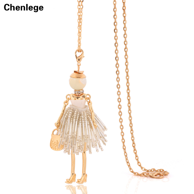 ヴィンテージレディースフィギュア形状人形ネックレス送料無料ファッションゴールドカラーロングチェーンビッグネックレス女性chokerビジュータッセル