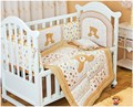 Promotion! 6pcs Embroidery Baby Bedding Set Bed Linen Cartoon Crib Bedding Set ,include (4bumpers+duvet+pillow)