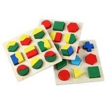 Free shipping Kids wooden Montessori blocks toys 3PCS, Children Geometrical shape building block, Baby wooden block toys недорого