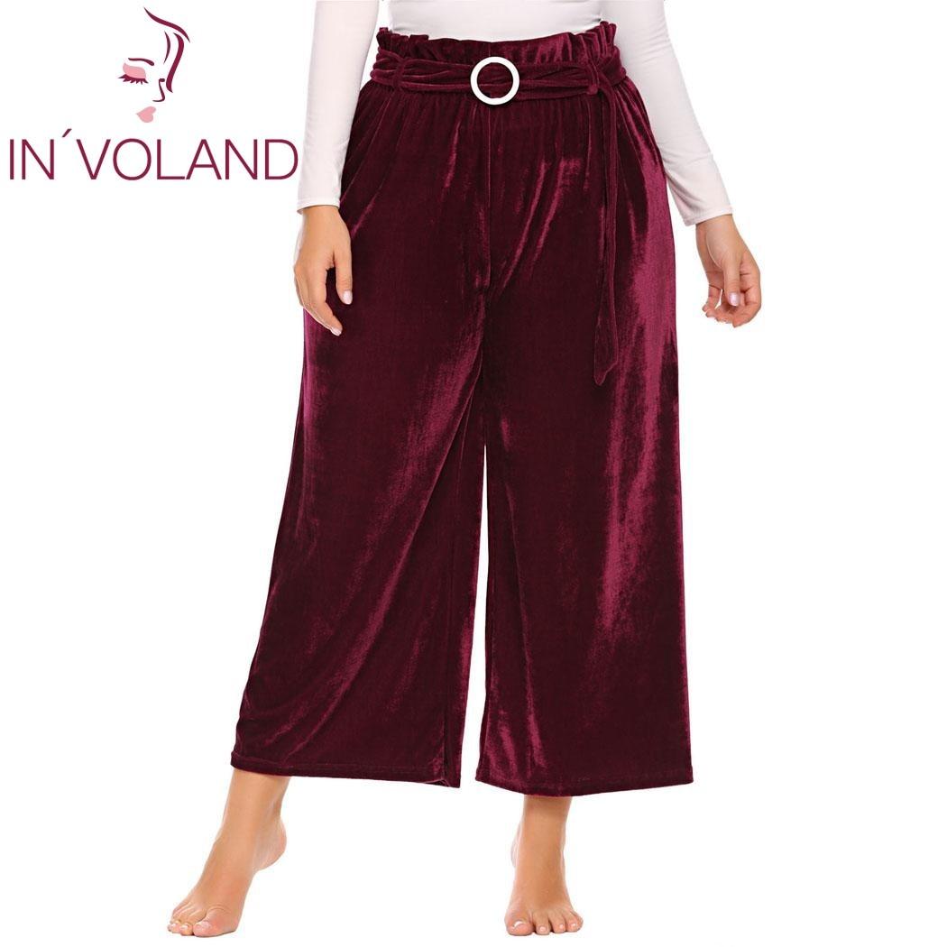 IN'VOLAND Grande Taille XL-5XL Femmes Pantalon Vintage Style Printemps Automne Taille Haute Ceinturé Long Culottes Pantalons à Jambes Larges Plus La Taille