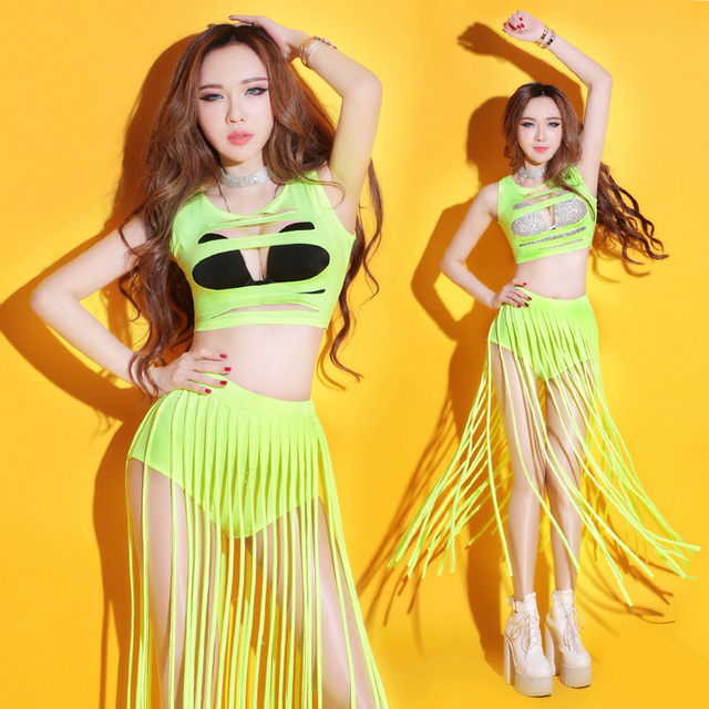 New Nightclub Neon Fringe Jazz Dance Suit Bar DS Performances Sexy  Fluorescent Female Singer Dance Costume c15534e35528